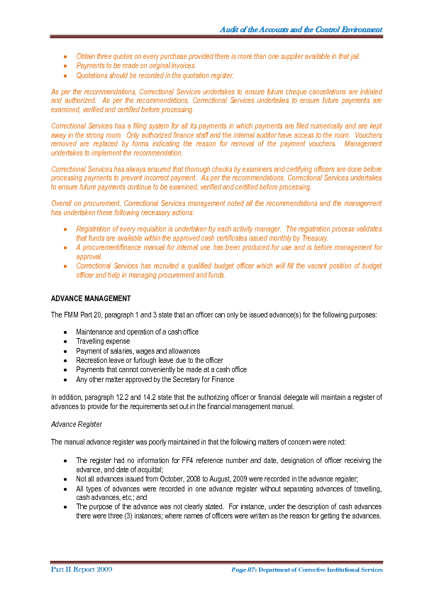 Part Ii Report Of The Auditor General 2009 On The Control Of And On Transactions With Or Concerning The Public Monies And Property Of Papua New Guinea Pngi Portal