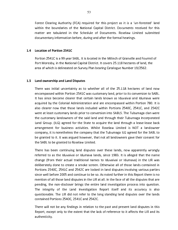 Commission of Inquiry into Special Agriculture and Business Leases